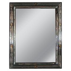 1940s Hollywood Mirror with Beveled Antiqued Mirror Border and Gold Squares