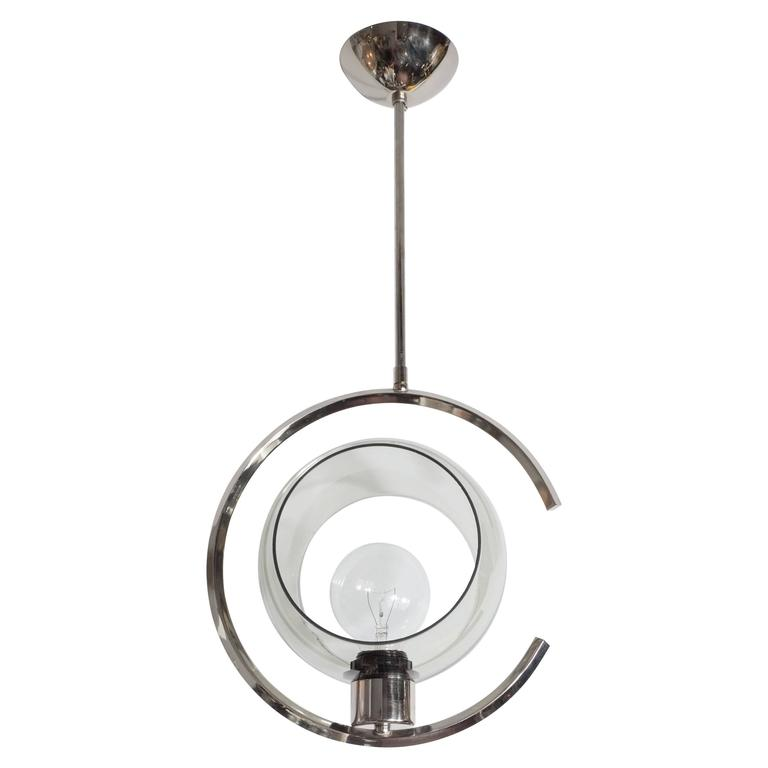 Mid-Century Modernist Concentric Design Chrome and Smoked Glass Pendant