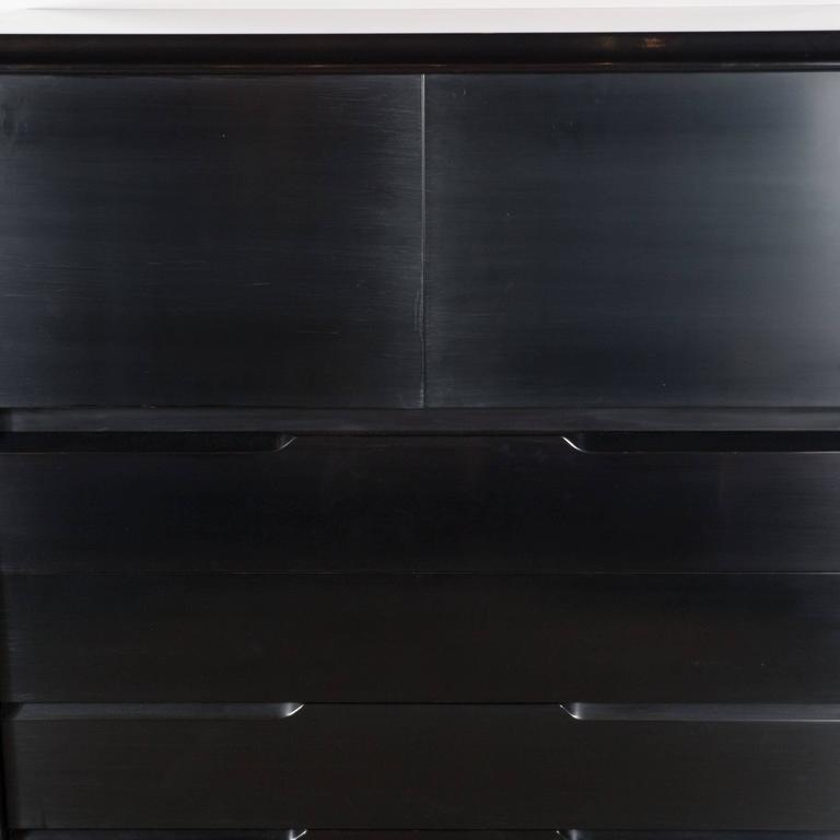 Mid-Century High Chest in Hand-Rubbed Ebonized Walnut by Edmund Spence In Excellent Condition For Sale In New York, NY