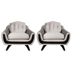 Pair of Mid-Century Modernist Armchairs in Platinum Velvet & Hand Rubbed Walnut