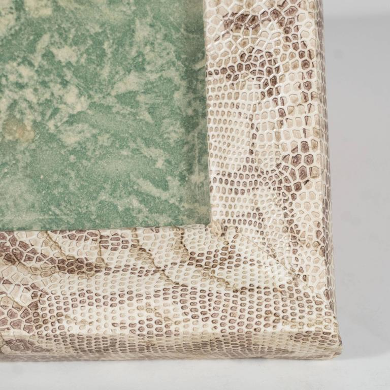 Luxe Modernist Faux Python Wrapped Frame in Shades of Brown and Taupe In Excellent Condition For Sale In New York, NY