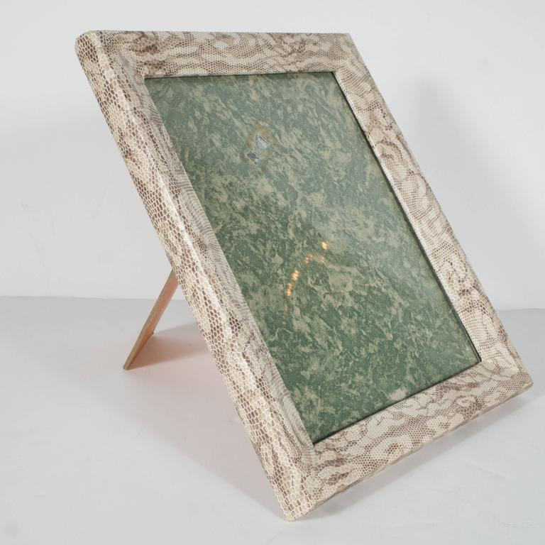 Contemporary Luxe Modernist Faux Python Wrapped Frame in Shades of Brown and Taupe For Sale
