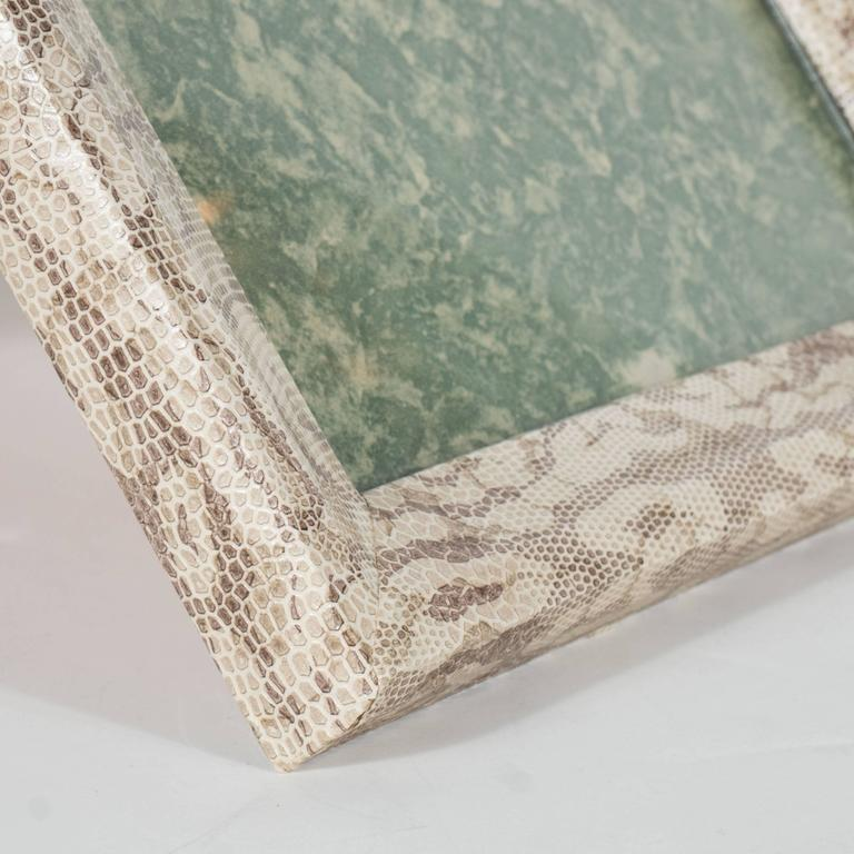 Luxe Modernist Faux Python Wrapped Frame in Shades of Brown and Taupe For Sale 1