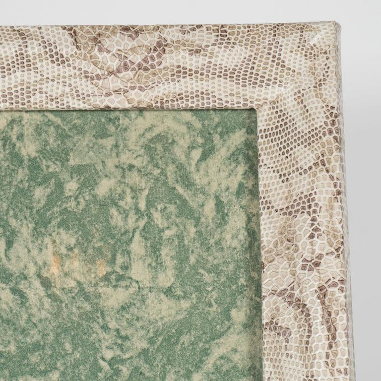 Faux Leather Luxe Modernist Faux Python Wrapped Frame in Shades of Brown and Taupe For Sale
