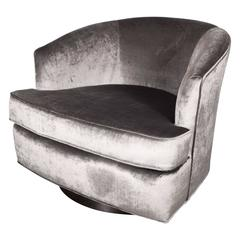 Milo Baughman Swivel Chair in Platinum Grey Velvet with Ebonized Walnut Base