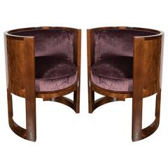 Fine Pair of Art Deco Curved-Back Salon Chairs in Smoked Amethyst Velvet