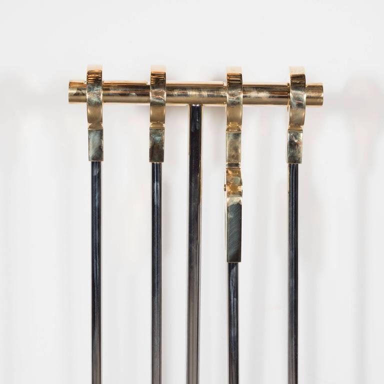 Modernist Four-Piece Polished Nickel Fire Tool Set with Polished Brass Handles For Sale 1