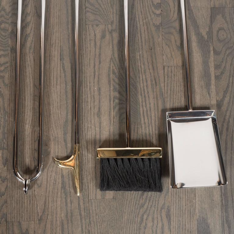 Modernist Four-Piece Polished Nickel Fire Tool Set with Polished Brass Handles For Sale 4