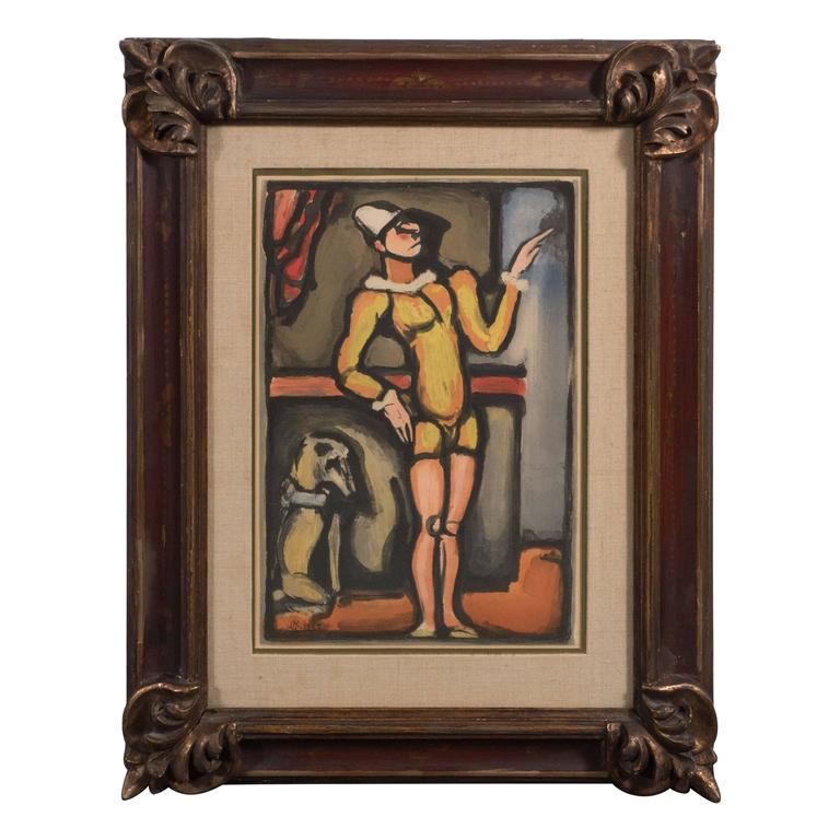 French Georges Rouault (1871-1958) Circus Aquatint, 1935 in Carved Frame
