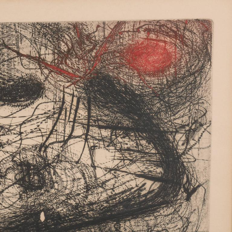 Mid-20th Century Modern Abstract Expressionist Print,