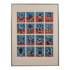 Mid-Century Modern Abstract Screenprint by Jimmy Ernst in Custom Gallery Frame