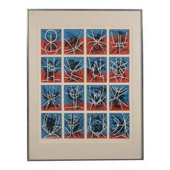 Mid-Century Modernist Screenprint by Jimmy Ernst Untitled