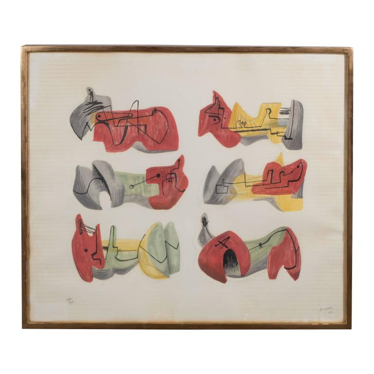 Mid-Century Henry Moore Six Reclining Figures Lithograph