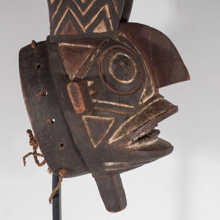 19th Century Bwa Mask Burkina Faso Mounted on Custom Black Enamel Stand 3