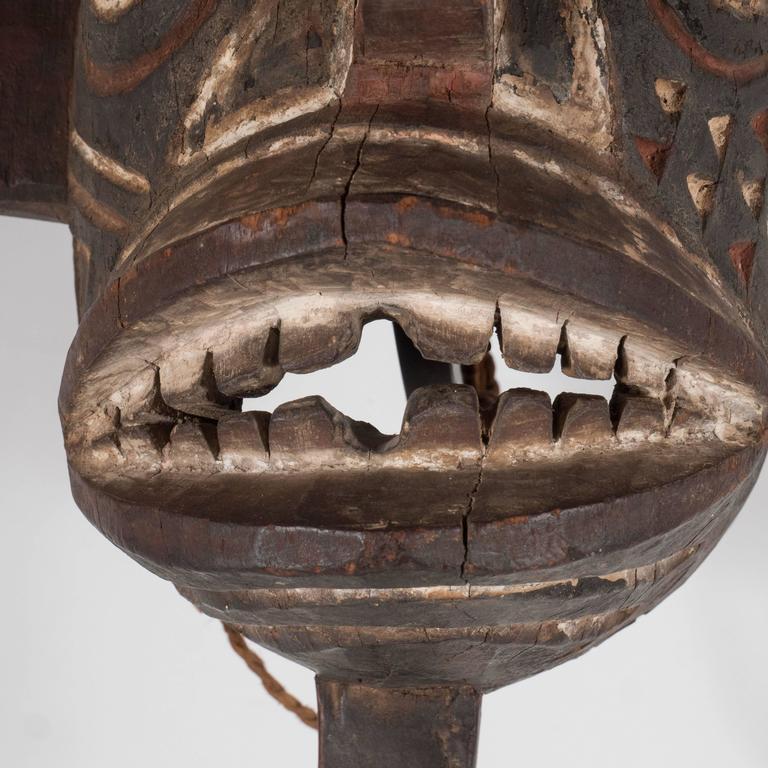 19th Century Bwa Mask Burkina Faso Mounted on Custom Black Enamel Stand 9
