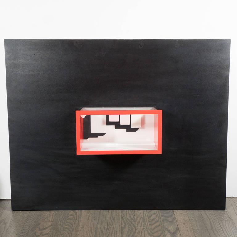 Mid-Century unknown artist untitled multimedia constructivist style box sculpture, an untitled work presenting a construction of painted wood, glass, and Formica on panel, creating a three-dimensional frame or tank, containing rectangular elements