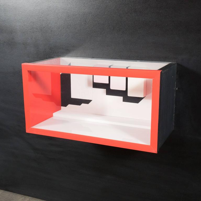 Painted Mid-Century Multimedia Constructivist Style Box Sculpture For Sale
