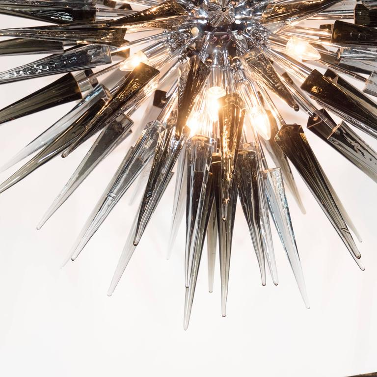 Modern Stunning Smoked Grey Handblown Murano Glass Spiked Starburst Chandelier For Sale