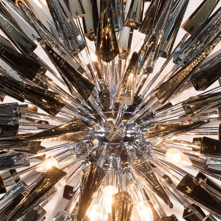 Italian Stunning Smoked Grey Handblown Murano Glass Spiked Starburst Chandelier For Sale