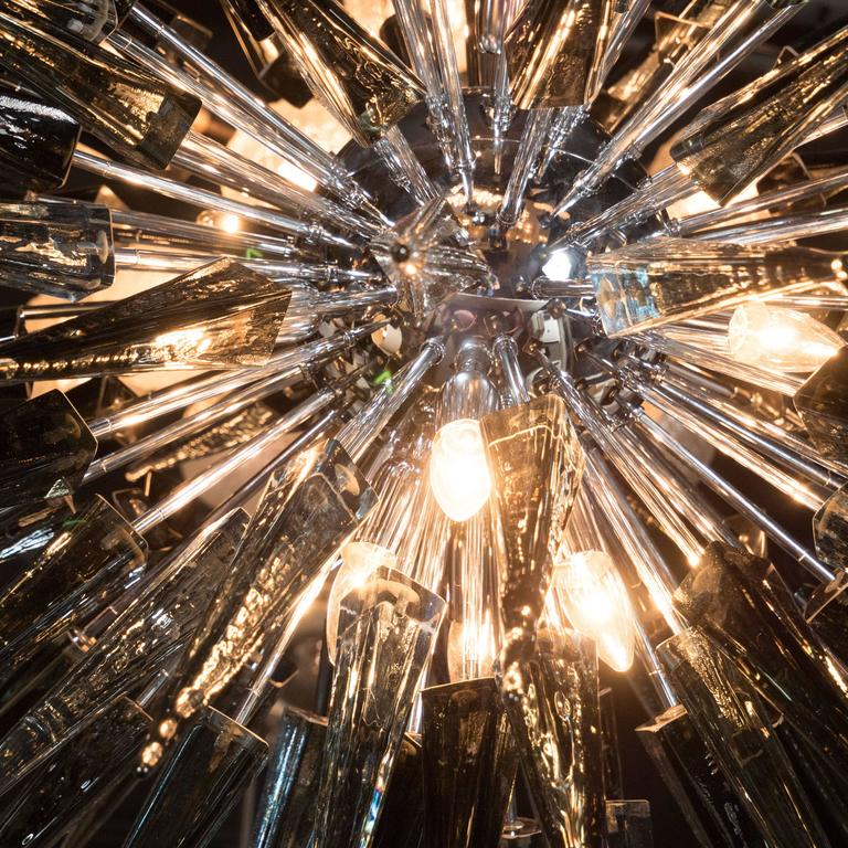 Contemporary Stunning Smoked Grey Handblown Murano Glass Spiked Starburst Chandelier For Sale