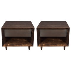 Pair of Modernist Macassar Nightstands / End Tables with Bronze Paneled Drawers