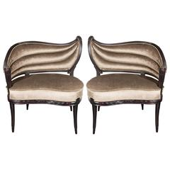 Pair of 1940s Hollywood Regency Occasional Chairs in Smoked Topaz Velvet