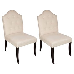 Luxe Pair of Elegant Scroll Back Chairs Upholstered in Loro Piana Cashmere