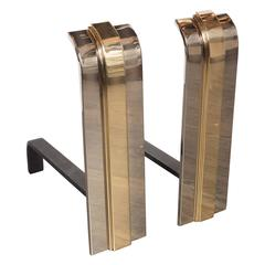 Custom Art Deco Style Skyscraper Andirons Displayed in Polished Brass and Nickel