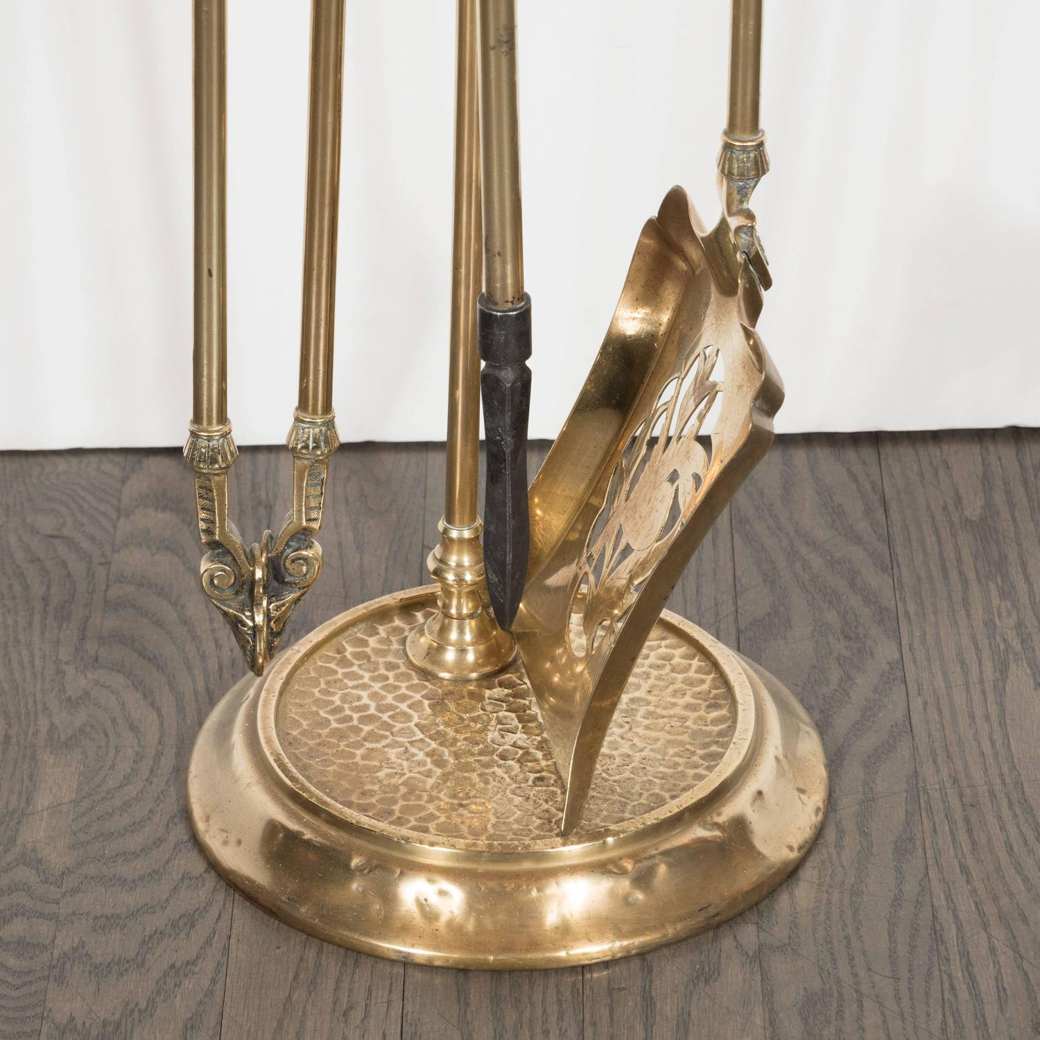 Antique Brass Fire Tool Set France circa 1900 For Sale