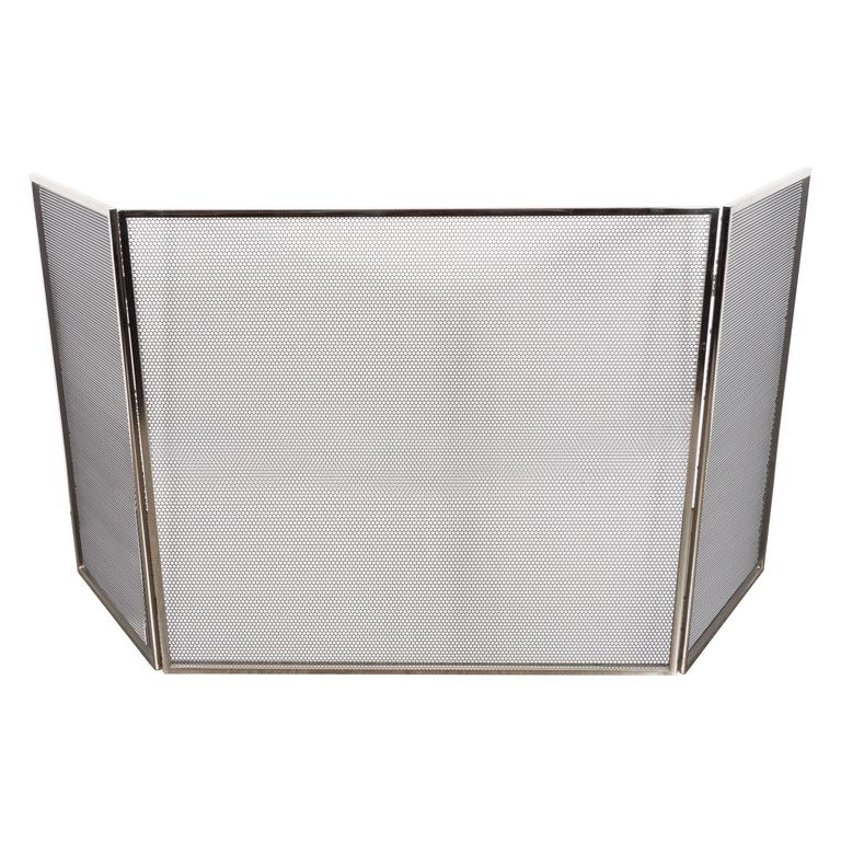 Custom Polished Nickel And Mesh Adjule Three Panel Fire Screen For