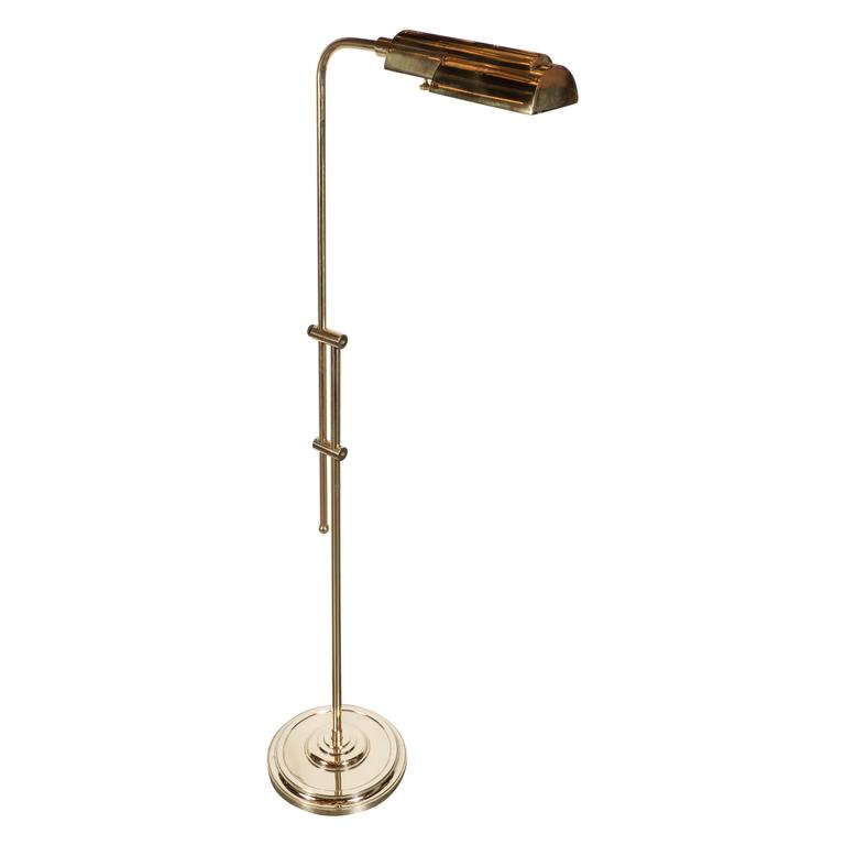 Mid-Century Modernist Brass Adjustable Floor Lamp, American, circa 1960