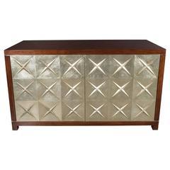 Custom Modernist Silver Leaf and Mahogany Cabinet, American, 20th Century
