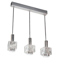 Mid-Century Modernist Etched Glass Pendant Chandelier with Chromed Fittings
