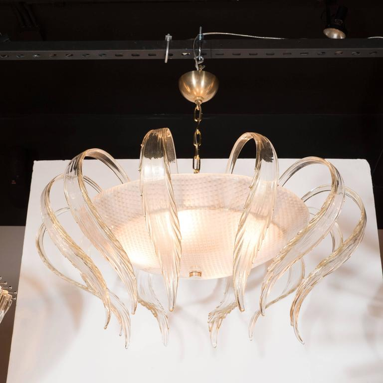 Brass Art Deco Textured Murano Glass Chandelier with Scrolled Feather Detail For Sale
