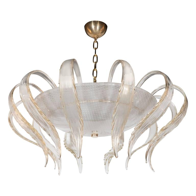 Art Deco Textured Murano Glass Chandelier with Scrolled Feather Detail For Sale