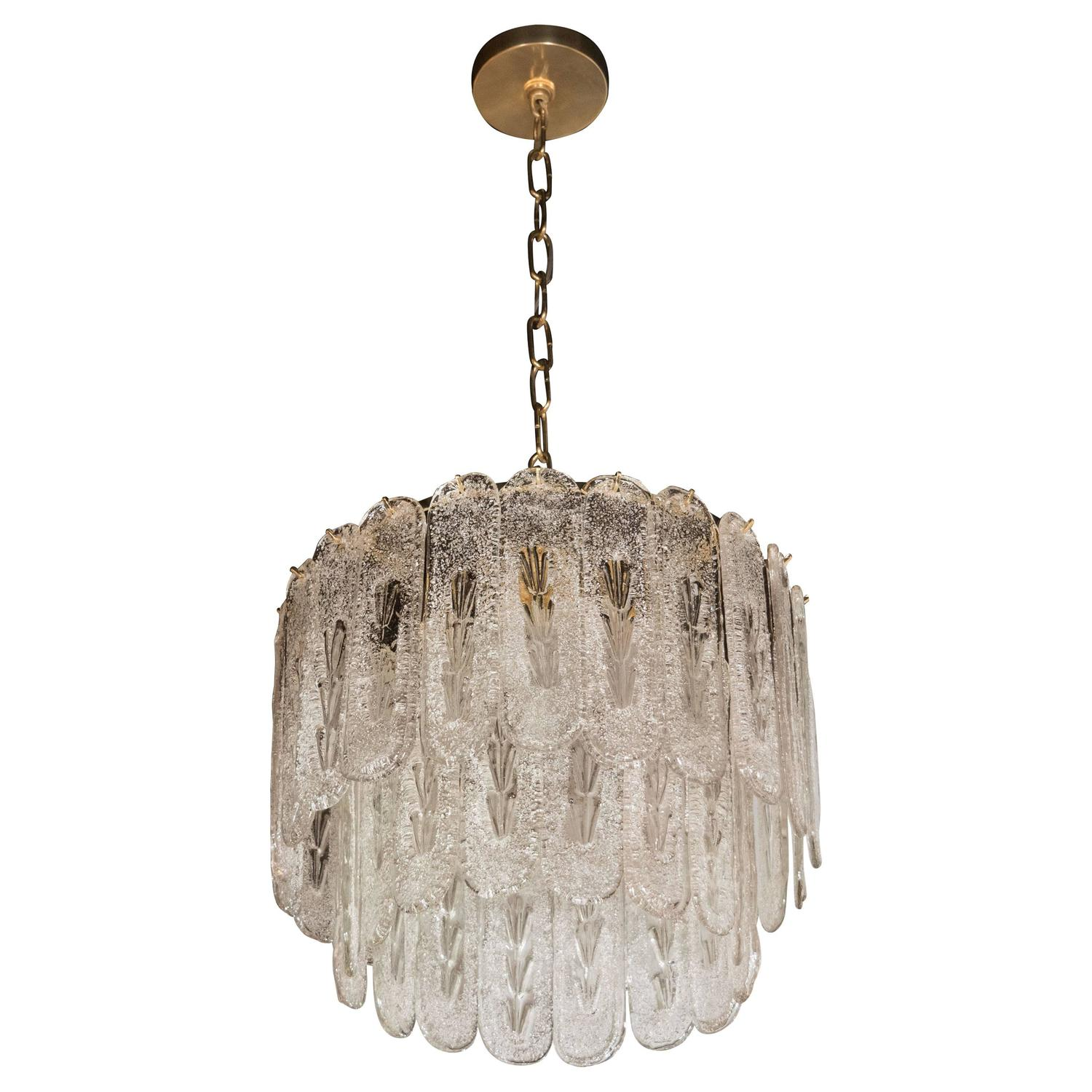 Exquisite and Monumental Modernist Murano Glass Ribbon Chandelier