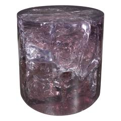 Cylindrical Fractured Resin Side Table by Pierre Giraudon, French, circa 1960