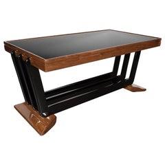 Art Deco Skyscraper Coffee Table in Walnut, Black Lacquer and Vitrolite