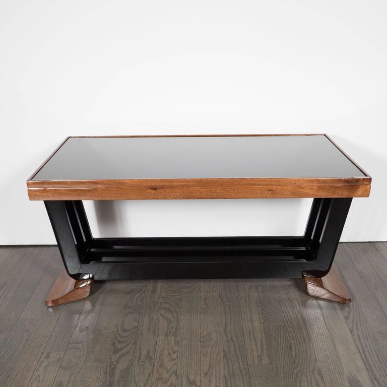 Art Deco Skyscraper Coffee Table In Walnut, Black Lacquer