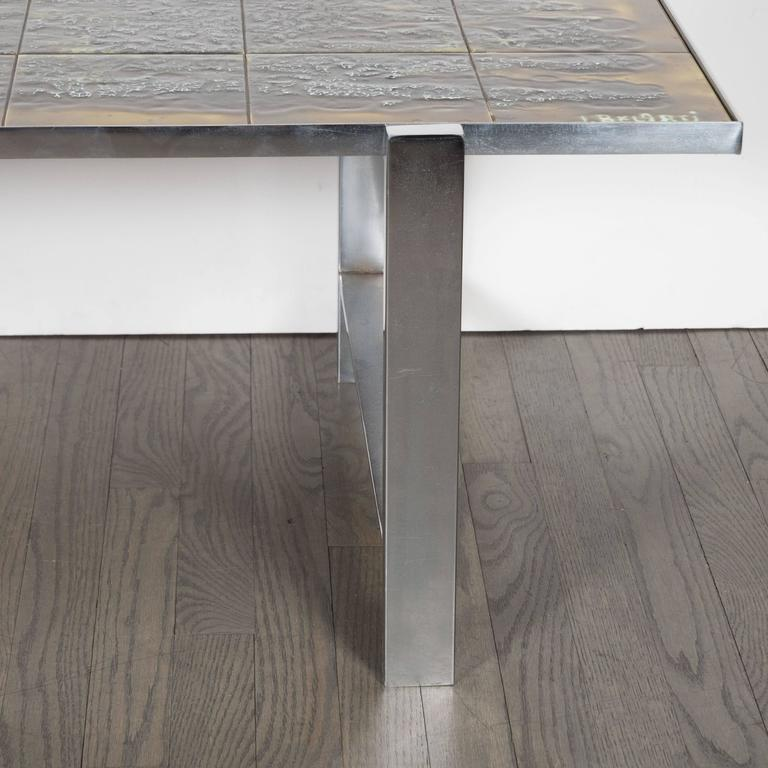 Mid-Century Modern Ceramic Tile and Polished Aluminium Coffee Table by J Belarti In Excellent Condition For Sale In New York, NY