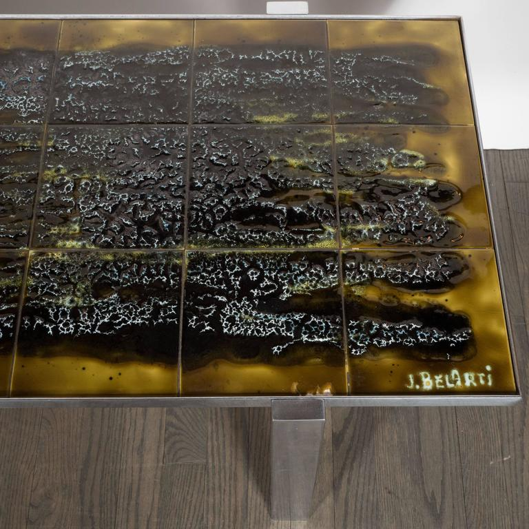 Belgian Mid-Century Modern Ceramic Tile and Polished Aluminium Coffee Table by J Belarti For Sale