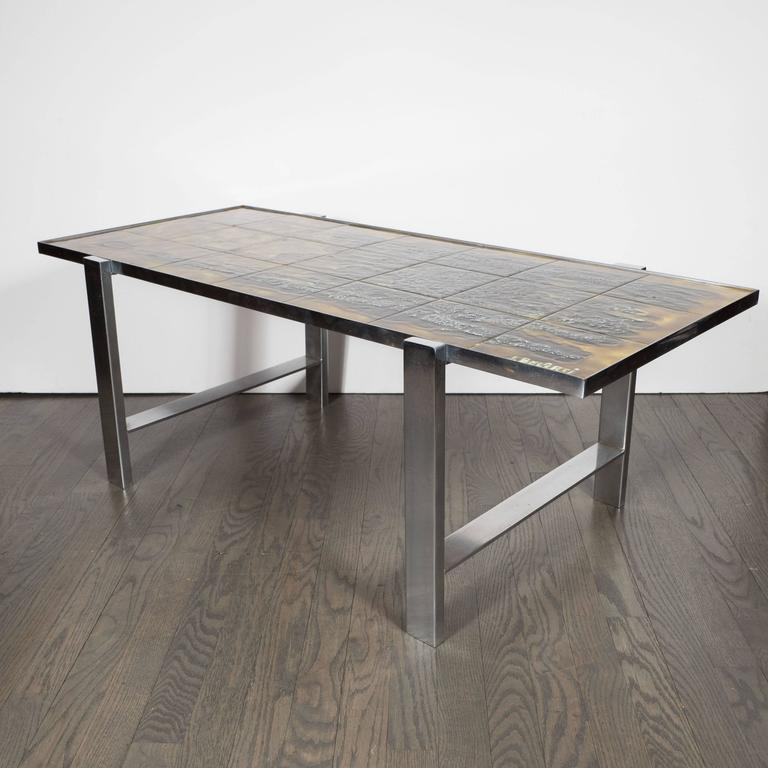 Mid-Century Modern Ceramic Tile and Polished Aluminium Coffee Table by J Belarti For Sale 1
