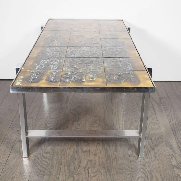 Mid-Century Modern Ceramic Tile and Polished Aluminium Coffee Table by J Belarti For Sale 2