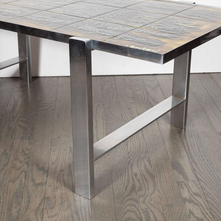 Mid-Century Modern Ceramic Tile and Polished Aluminium Coffee Table by J Belarti For Sale 4
