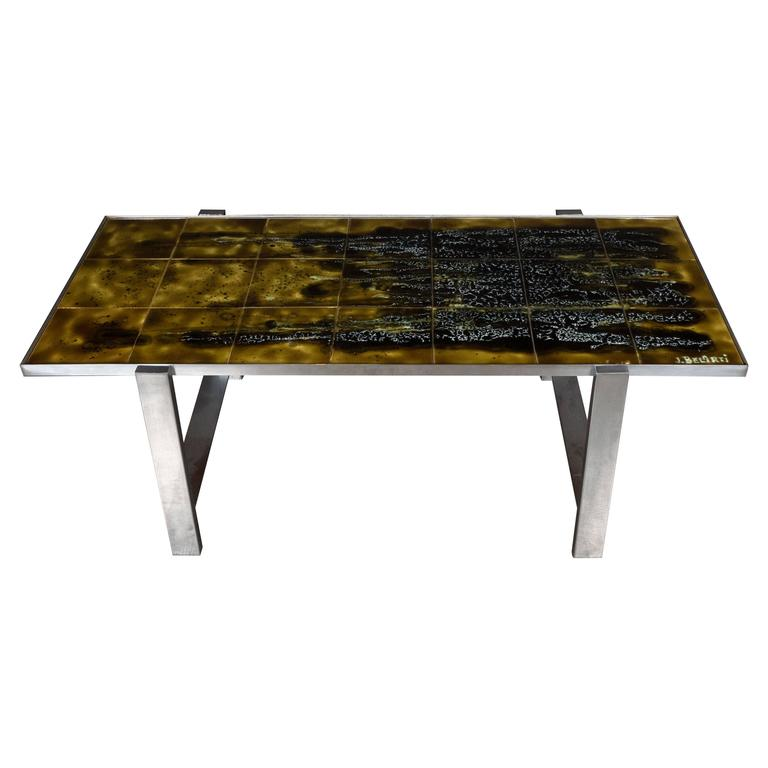 Mid-Century Modern Ceramic Tile and Polished Aluminium Coffee Table by J Belarti