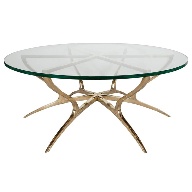 Italian style solid glass and brass spider leg center for Center table legs