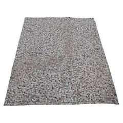 Modernist Pebble Patchwork Kyle Bunting Style Rug in Grey and White Cowhide