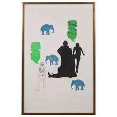 """The Dream"" Lithograph Printed in Colors, Depicting Jungle Scenes, 1968"