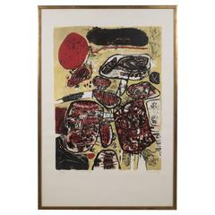 """Mid-Century Corneille """"Le Soleil Rouge"""" Lithograph Printed in Colors, 1963"""