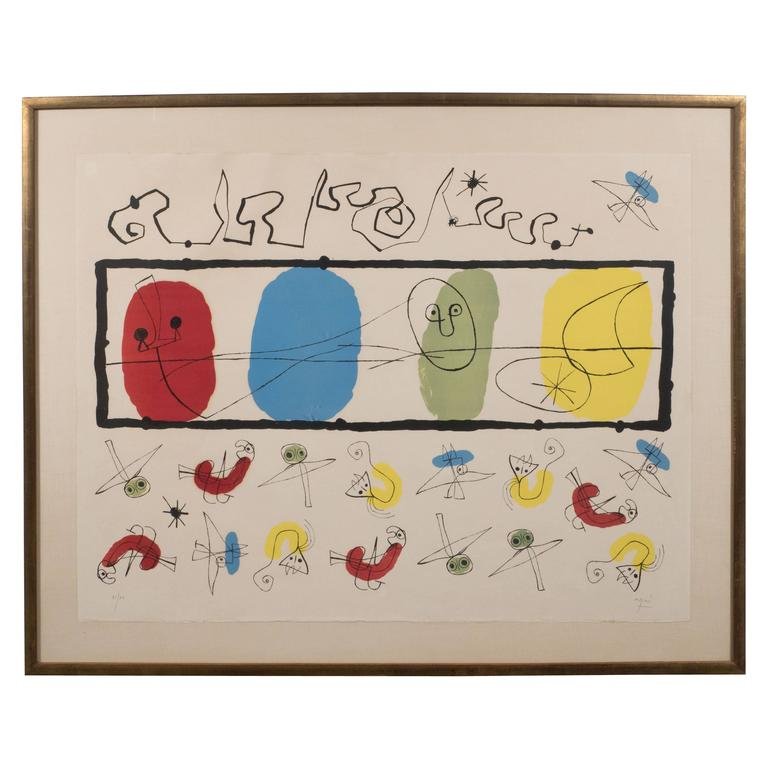 """Joan Miro """"the Birds"""" 'M. 241' Lithograph Printed in Colors, 1956"""